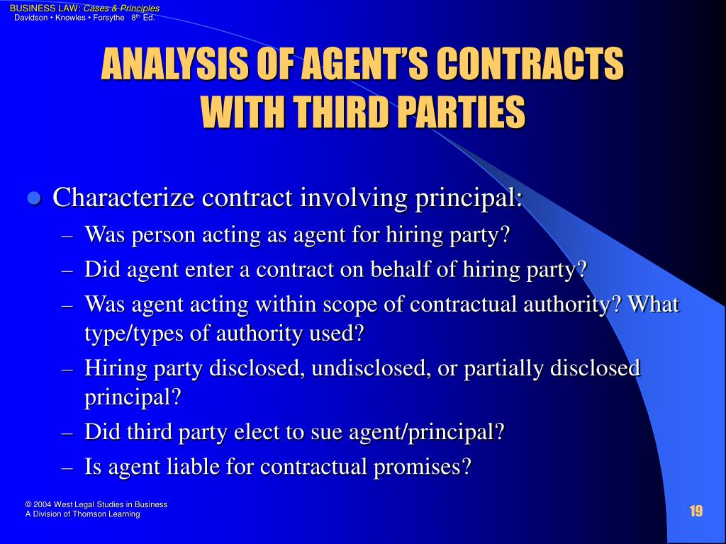 ANALYSIS OF AGENT'S CONTRACTS