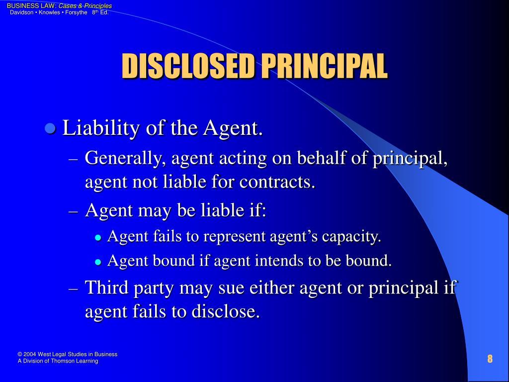 DISCLOSED PRINCIPAL