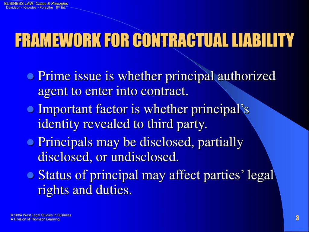 FRAMEWORK FOR CONTRACTUAL LIABILITY