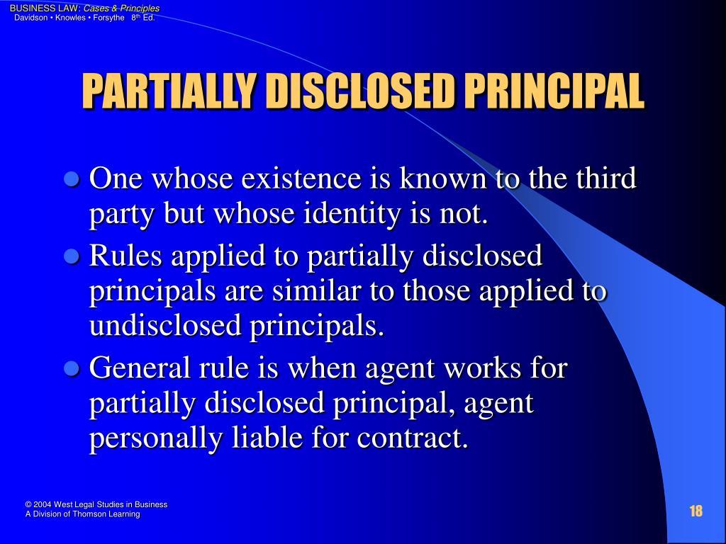 PARTIALLY DISCLOSED PRINCIPAL