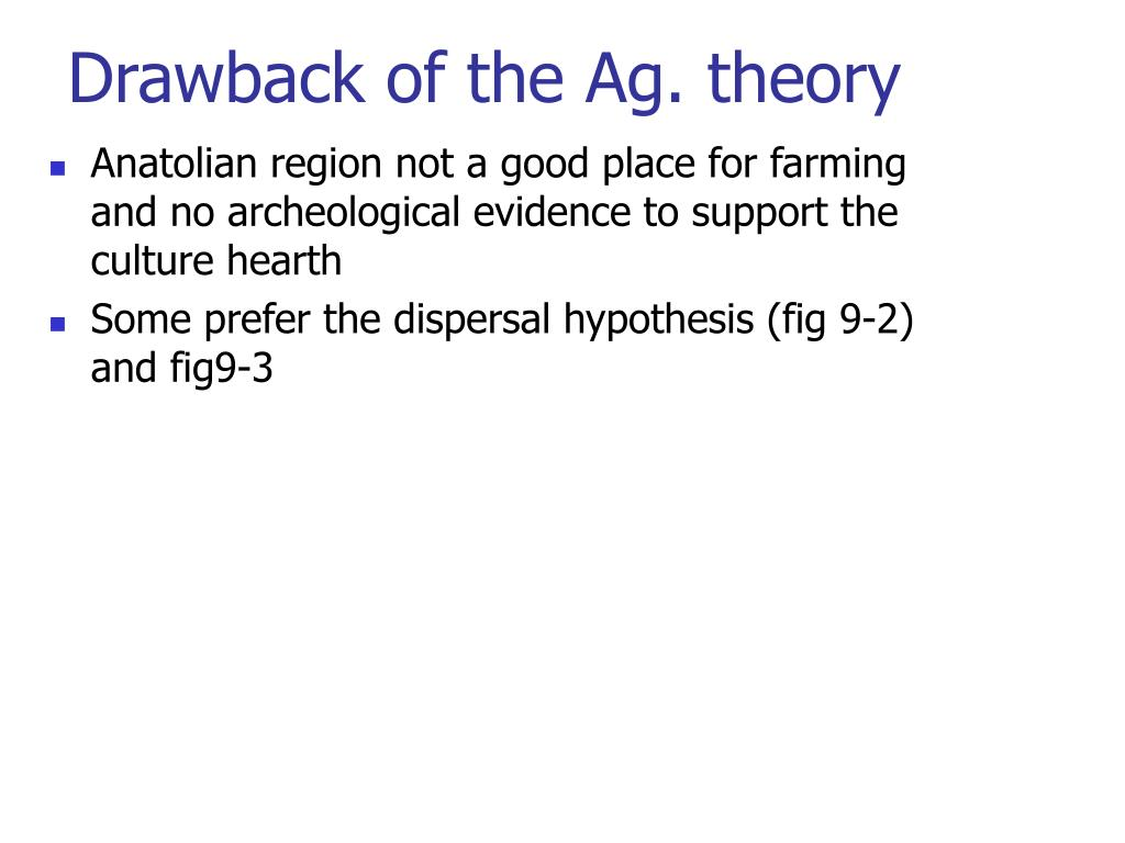 Drawback of the Ag. theory