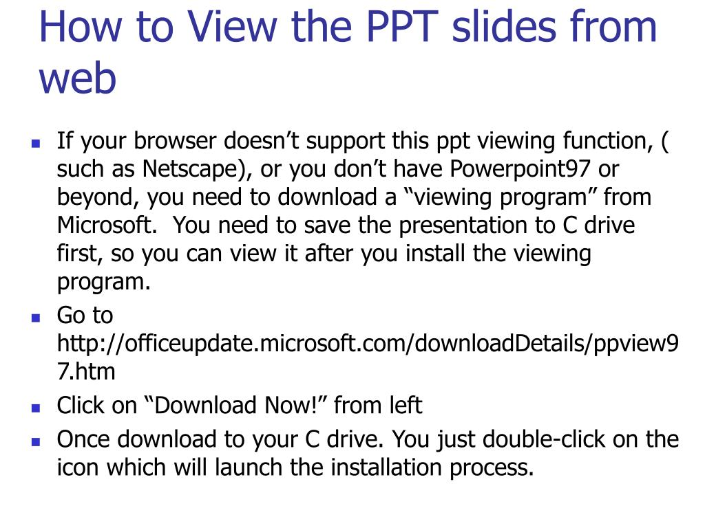 How to View the PPT slides from web