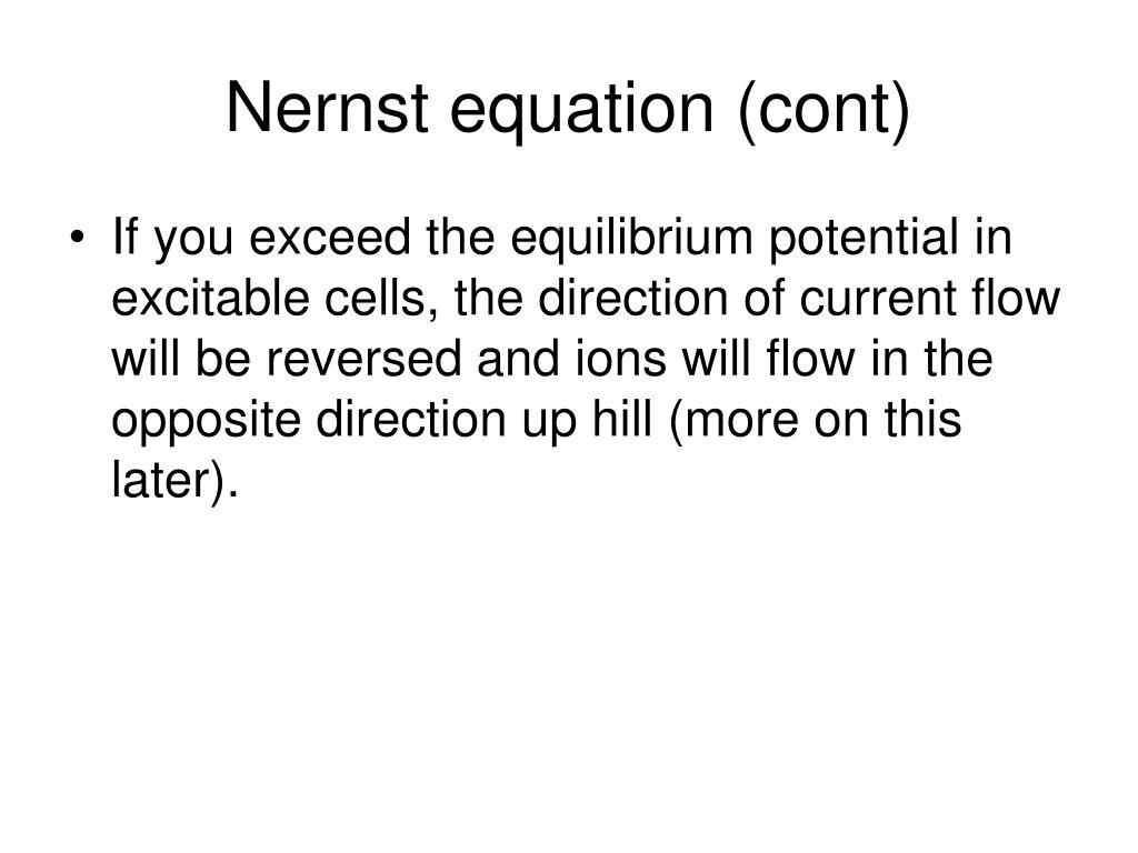 Nernst equation (cont)