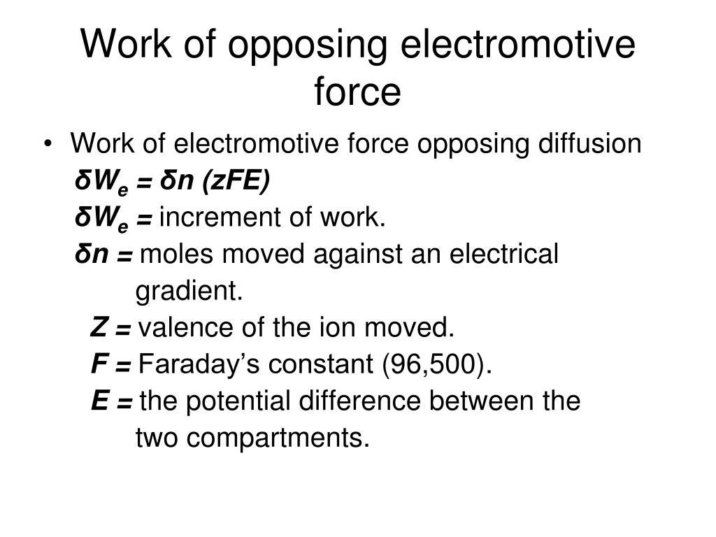 Work of opposing electromotive force
