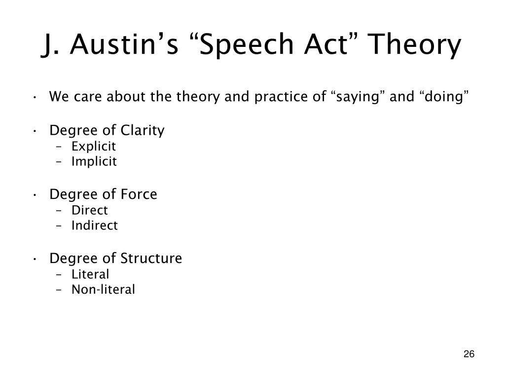 "J. Austin's ""Speech Act"" Theory"