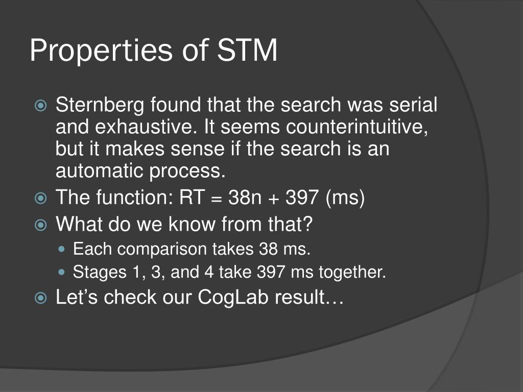 Properties of STM