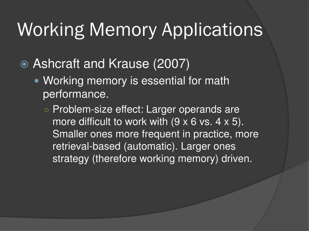 Working Memory Applications