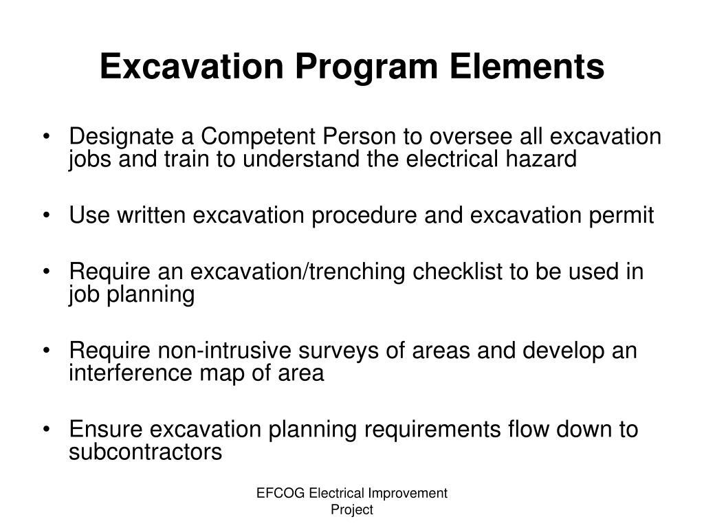 Excavation Program Elements