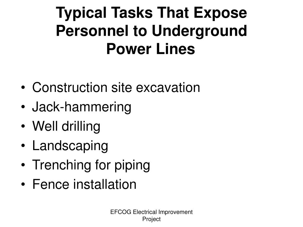Typical Tasks That Expose Personnel to Underground