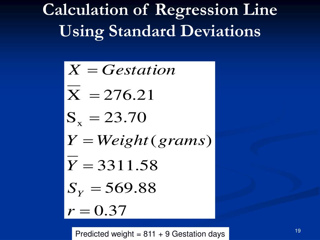 Calculation of Regression Line Using Standard Deviations
