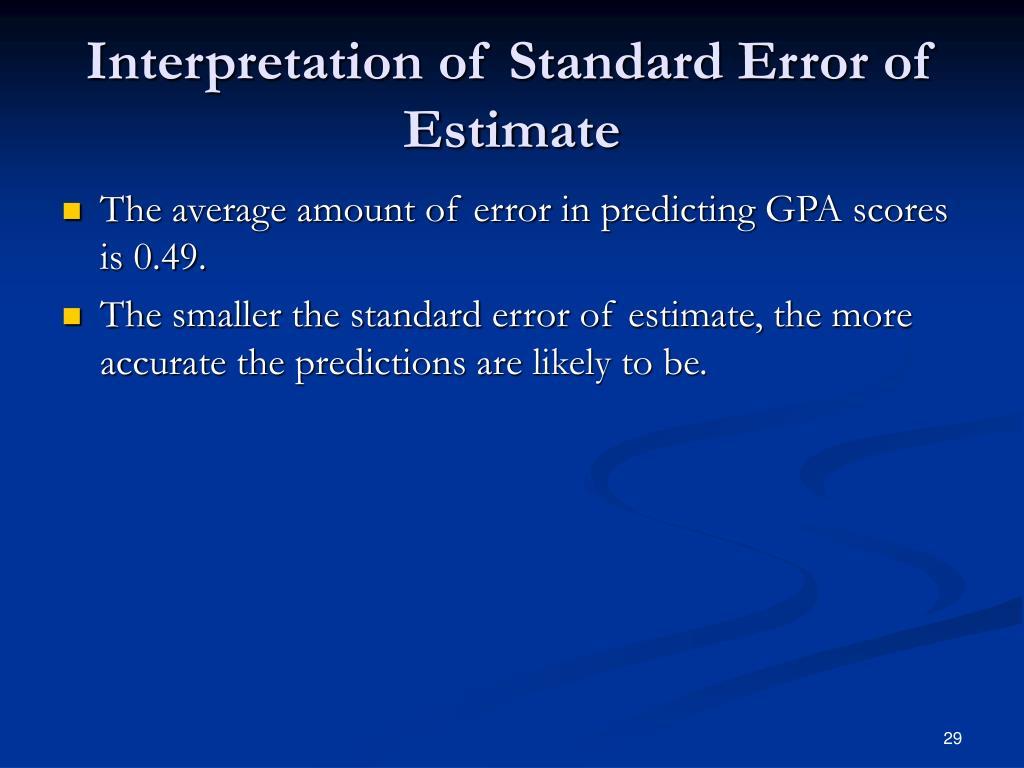 Interpretation of Standard Error of Estimate