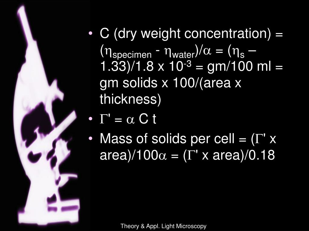 C (dry weight concentration) = (