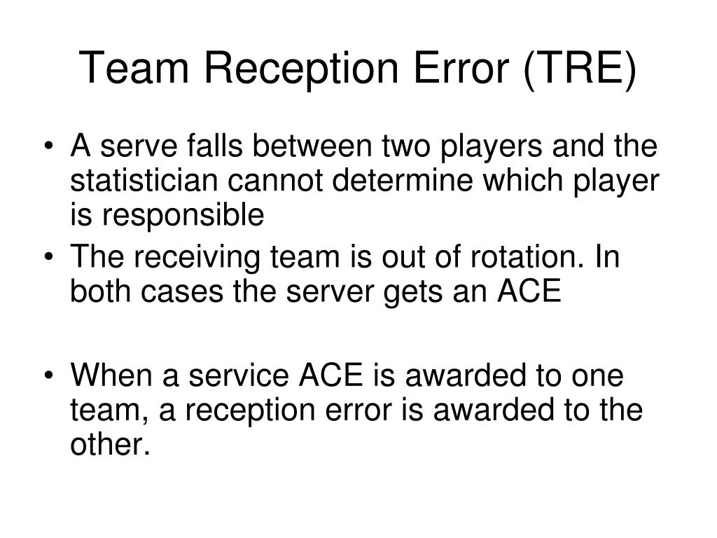 Team Reception Error (TRE)
