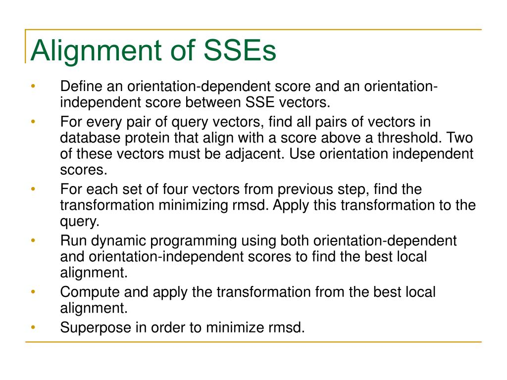 Alignment of SSEs