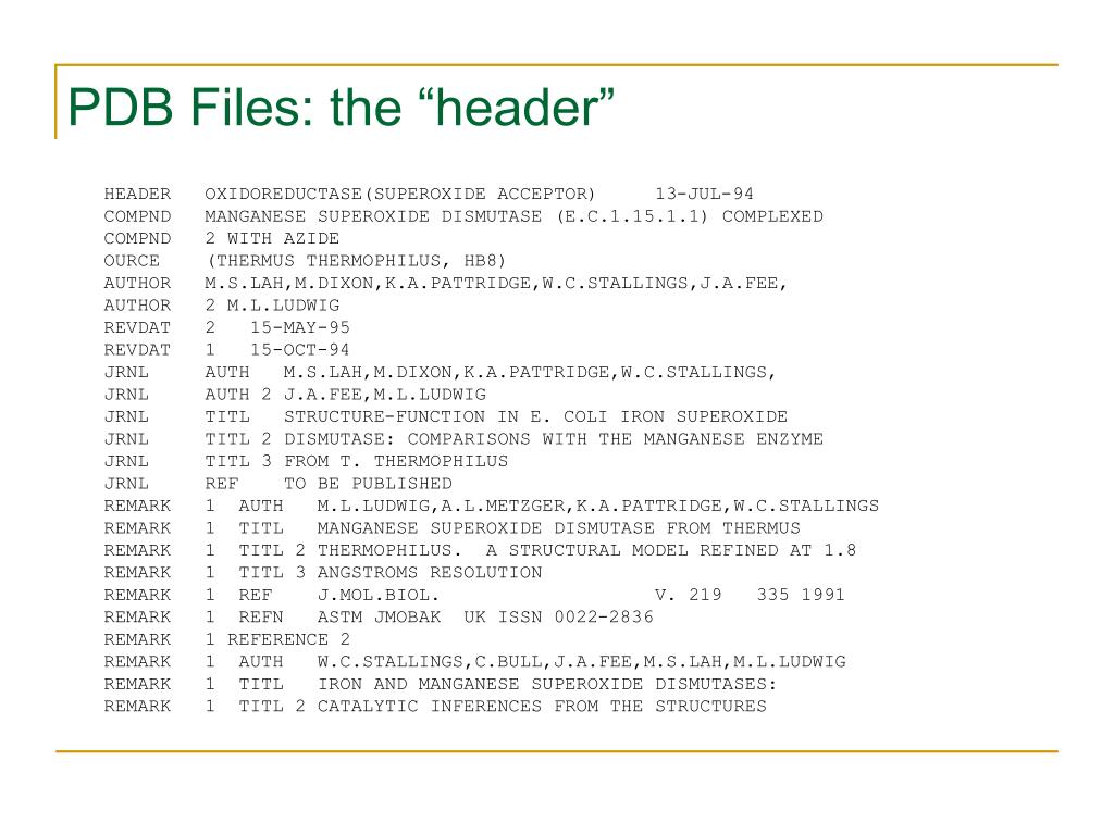 "PDB Files: the ""header"""