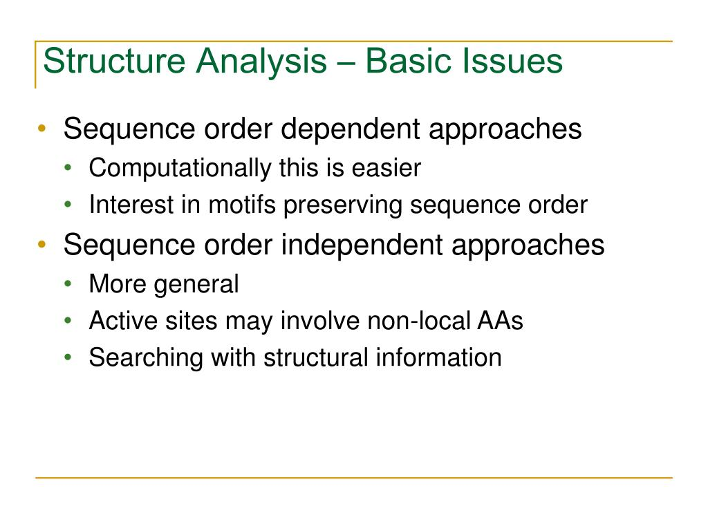 Structure Analysis – Basic Issues