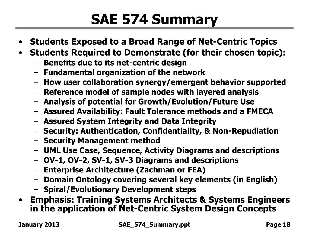 SAE 574 Summary