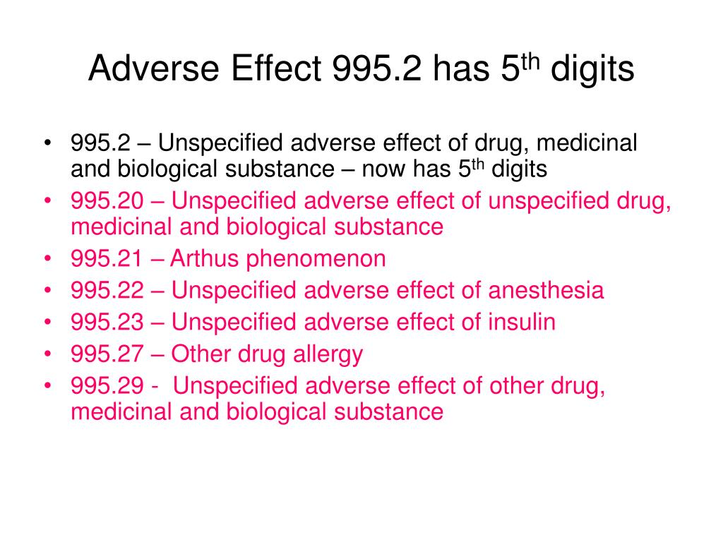 Adverse Effect 995.2 has 5