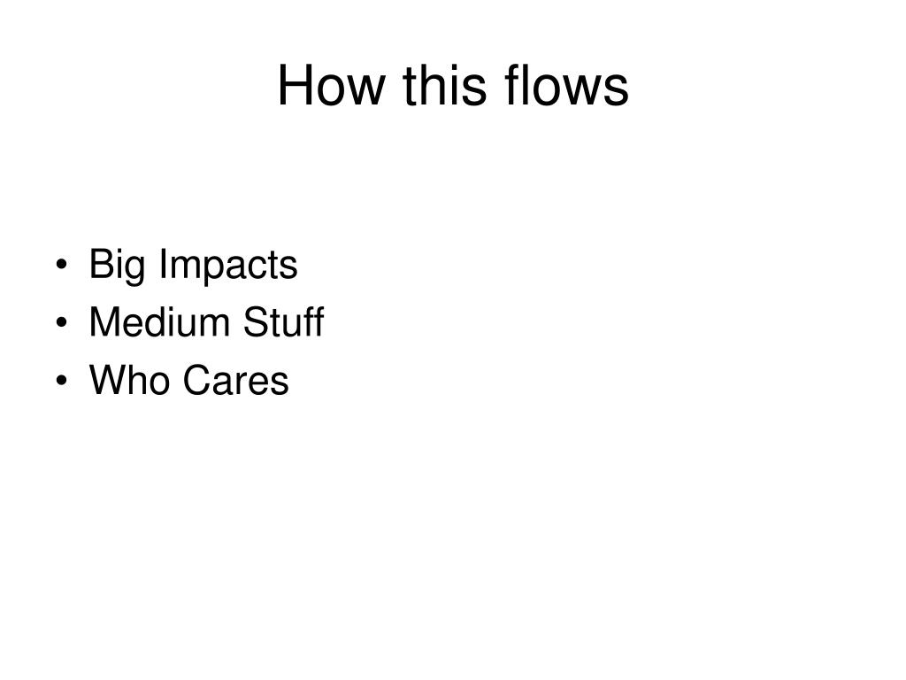 How this flows