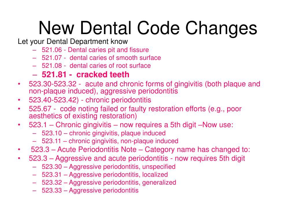 New Dental Code Changes