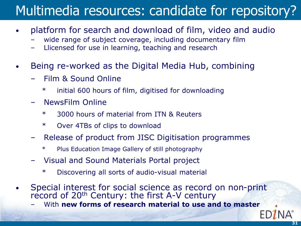Multimedia resources: candidate for repository?