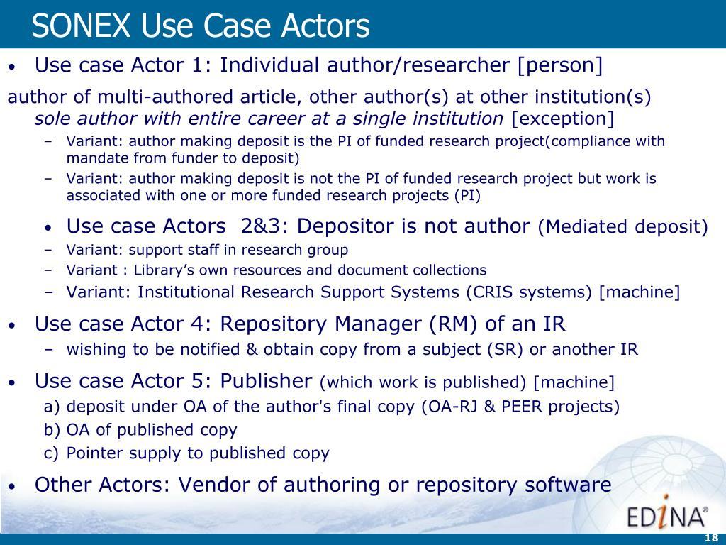 SONEX Use Case Actors