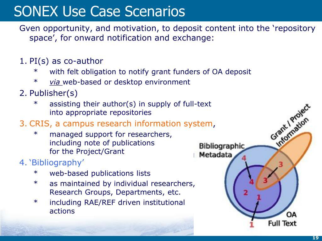 SONEX Use Case Scenarios