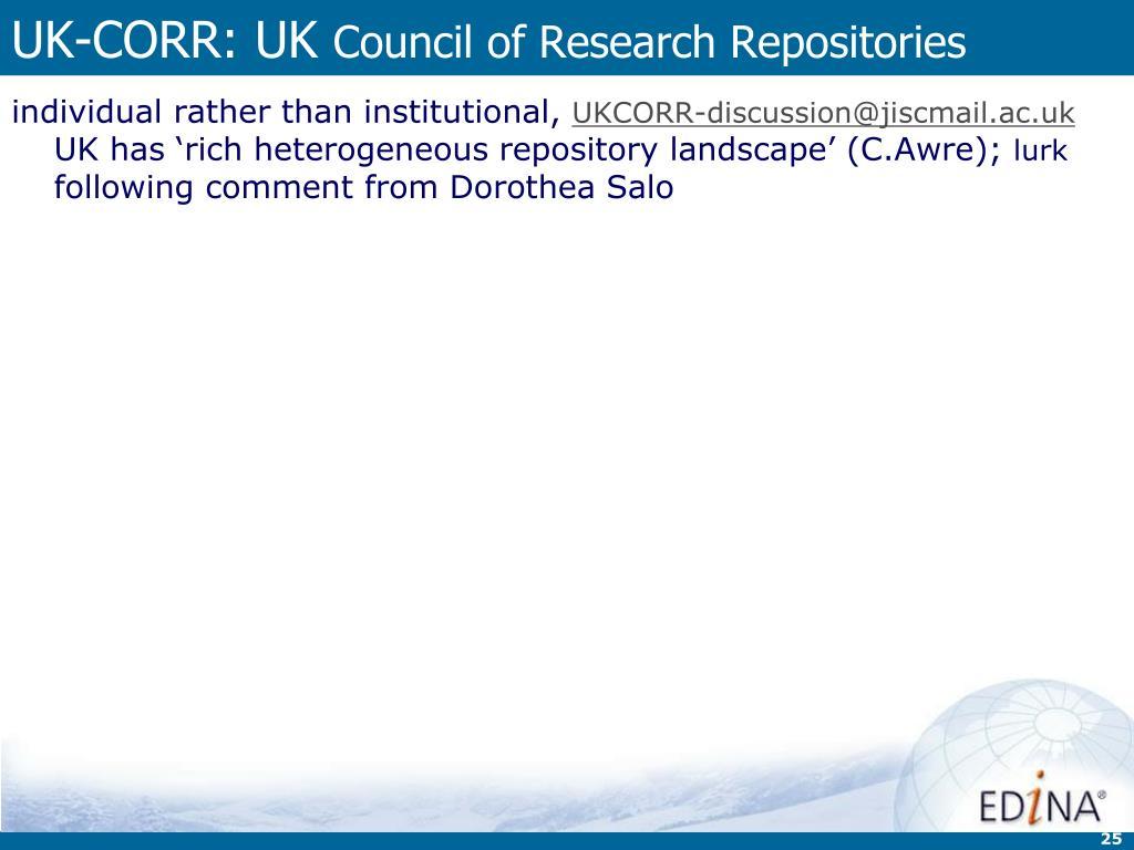 UK-CORR: UK