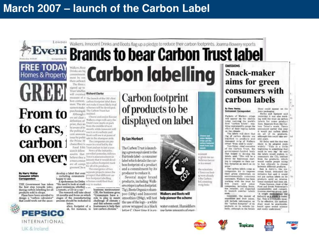 March 2007 – launch of the Carbon Label