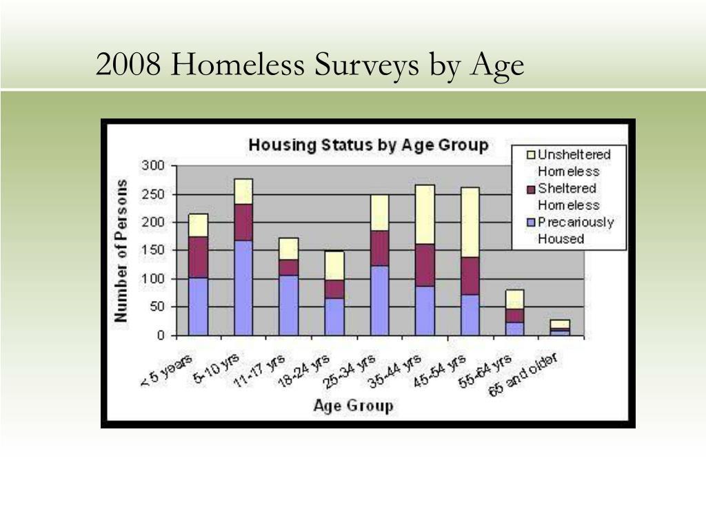 2008 Homeless Surveys by Age