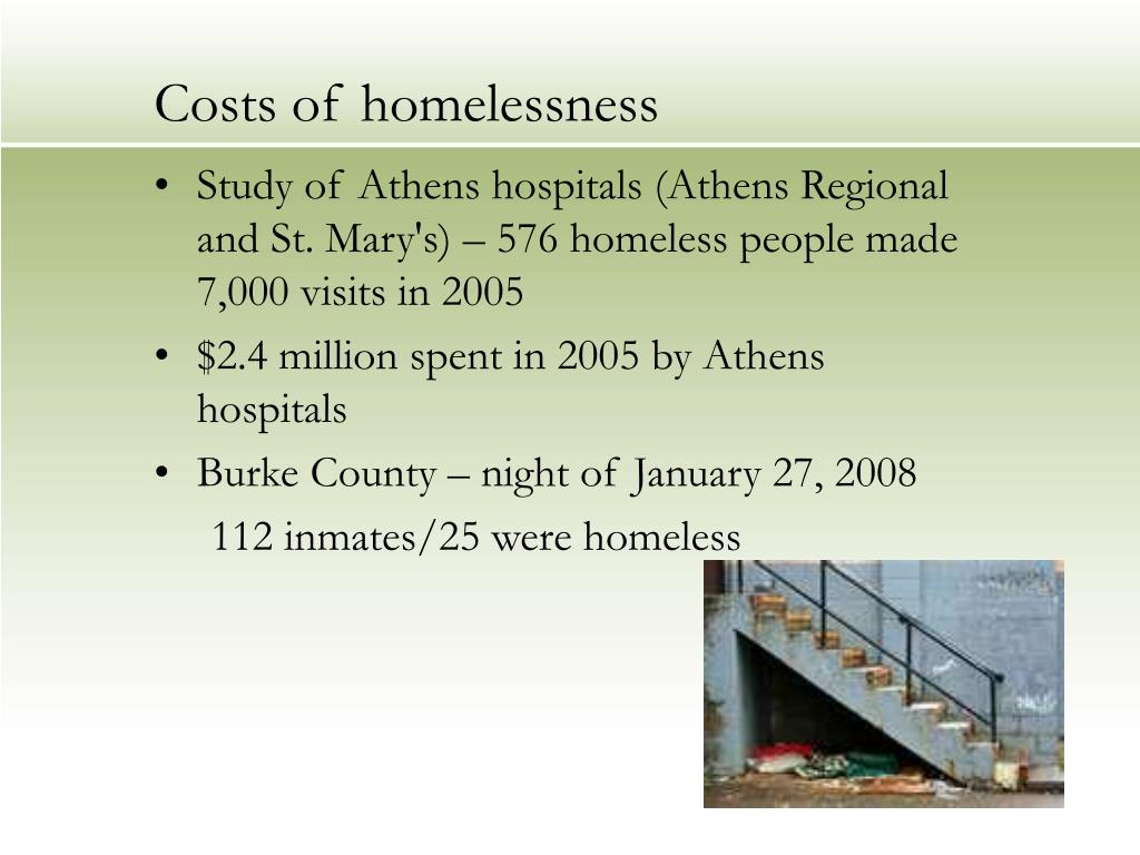 Costs of homelessness