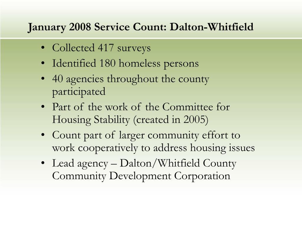 January 2008 Service Count: Dalton-Whitfield