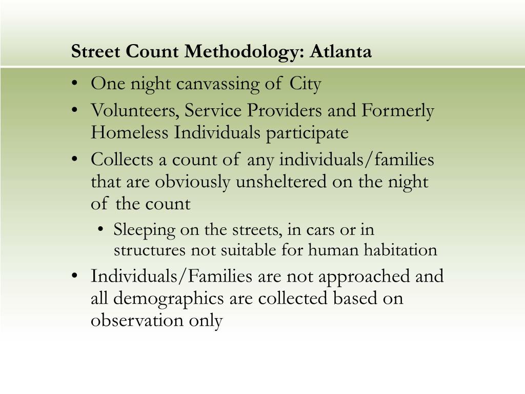 Street Count Methodology: Atlanta