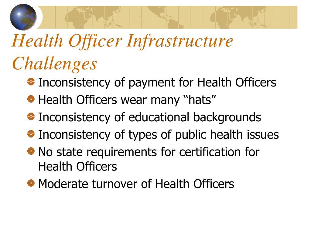 Health Officer Infrastructure Challenges
