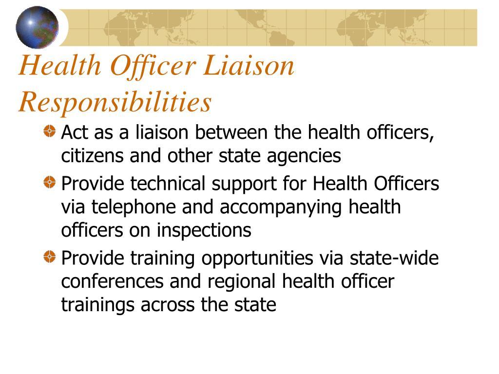Health Officer Liaison Responsibilities