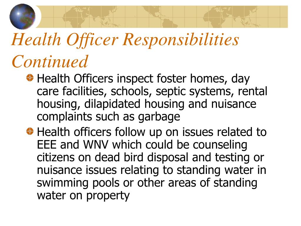 Health Officer Responsibilities
