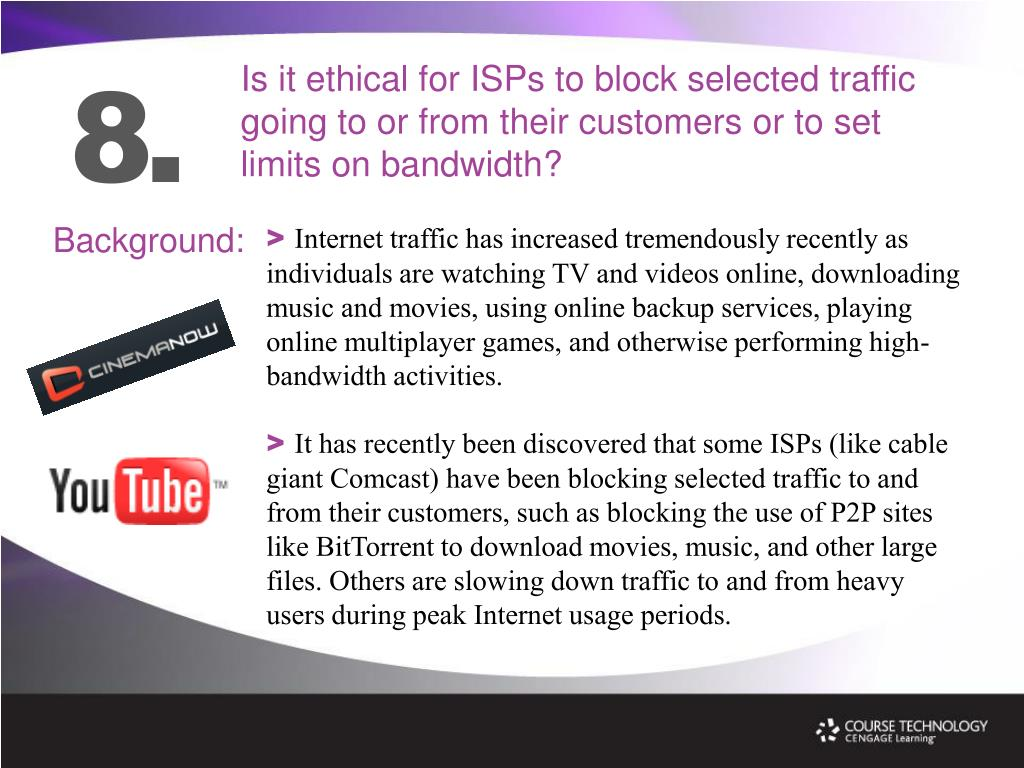 Is it ethical for ISPs to block selected traffic going to or from their customers or to set limits on bandwidth?
