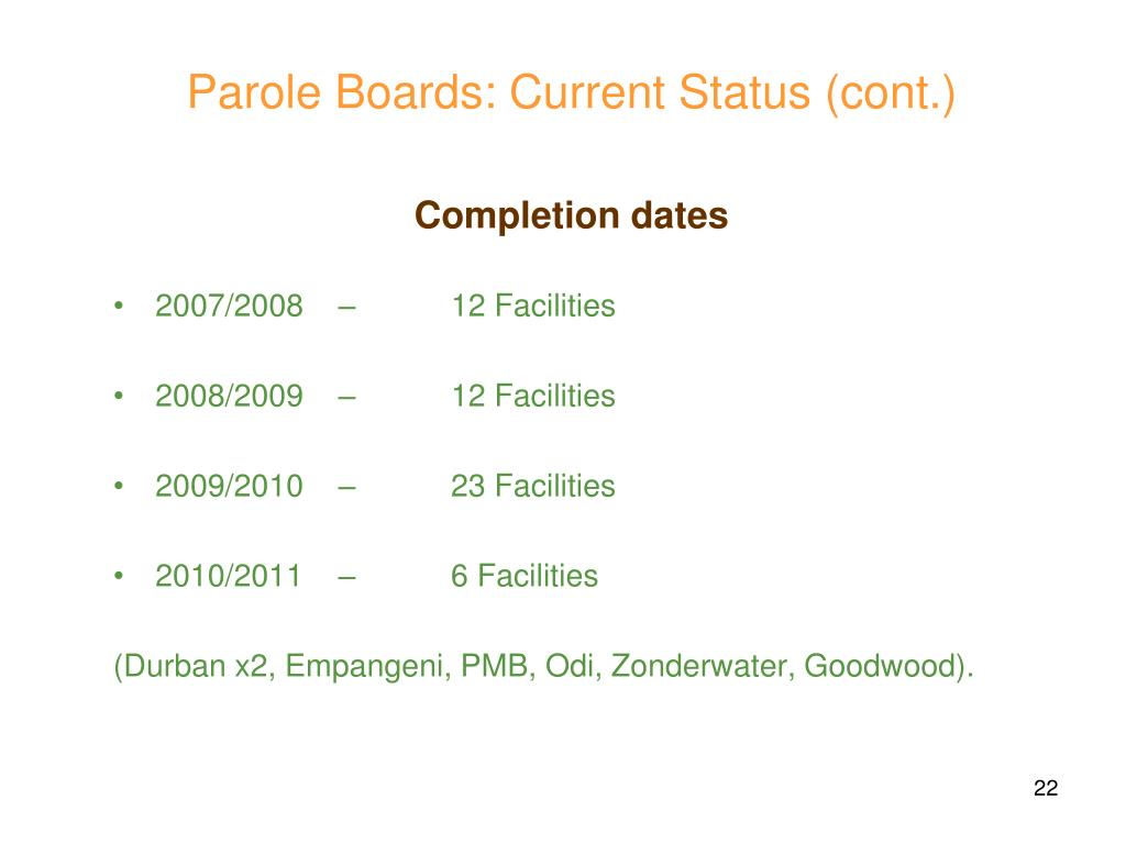 Completion dates