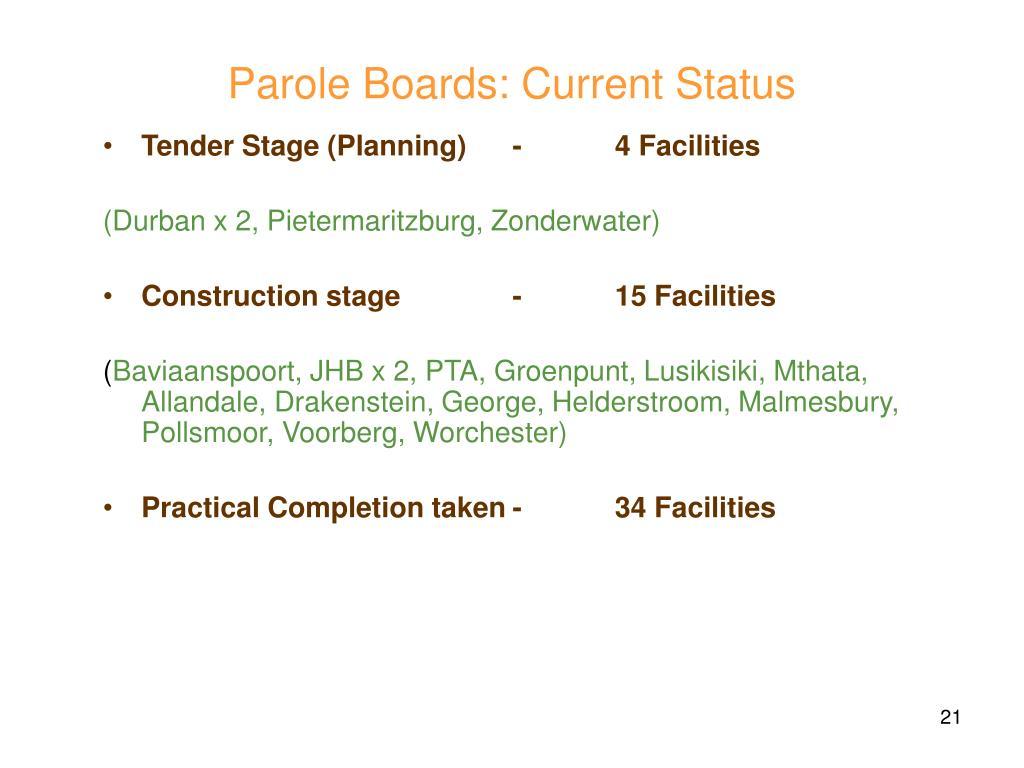 Parole Boards: Current Status