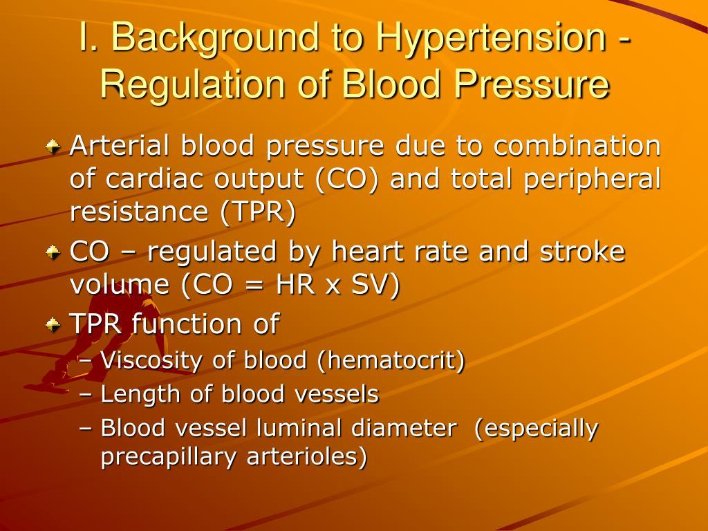 I. Background to Hypertension -
