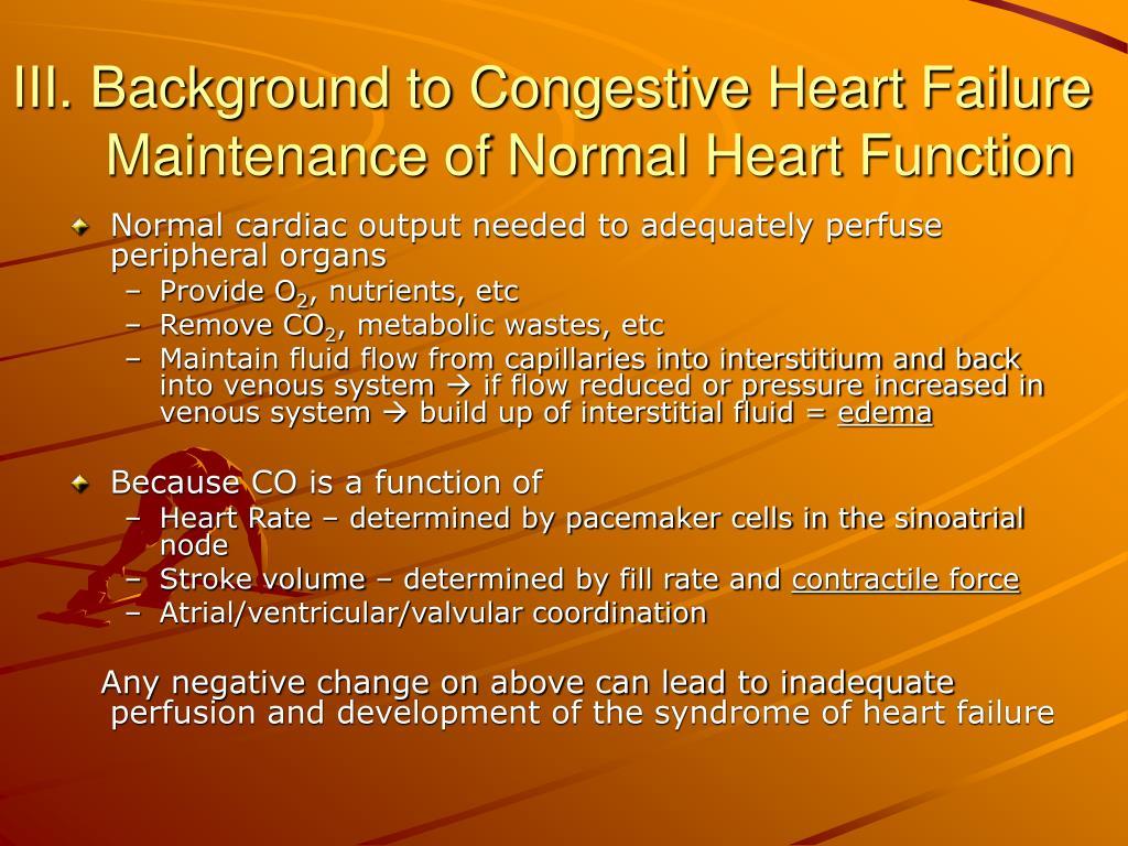 III. Background to Congestive Heart Failure