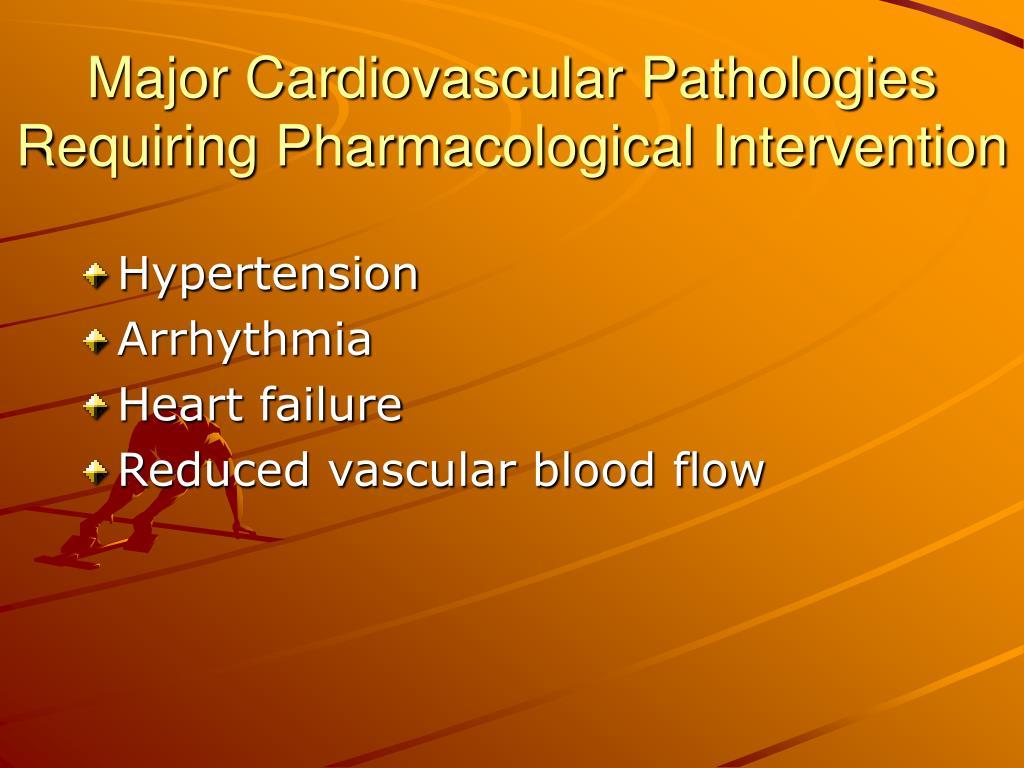 Major Cardiovascular Pathologies Requiring Pharmacological Intervention