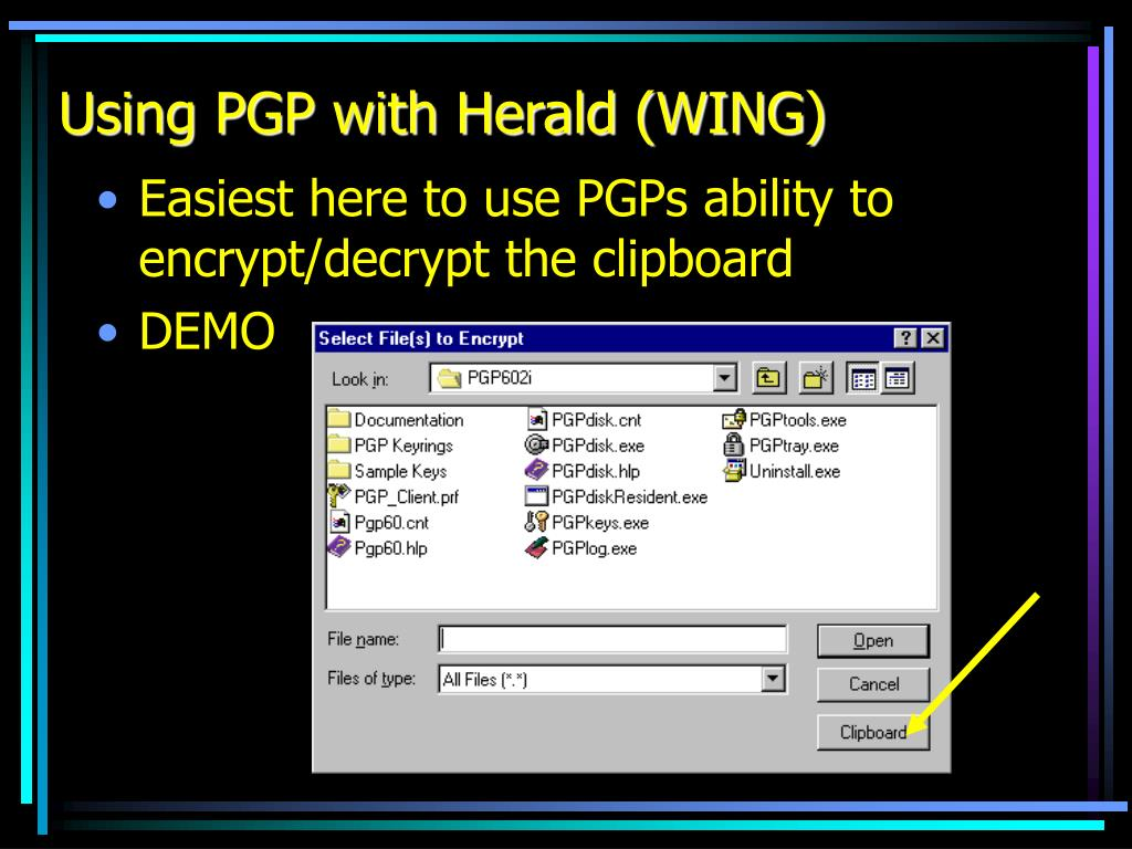 Using PGP with Herald (WING)