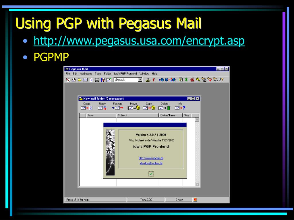 Using PGP with Pegasus Mail
