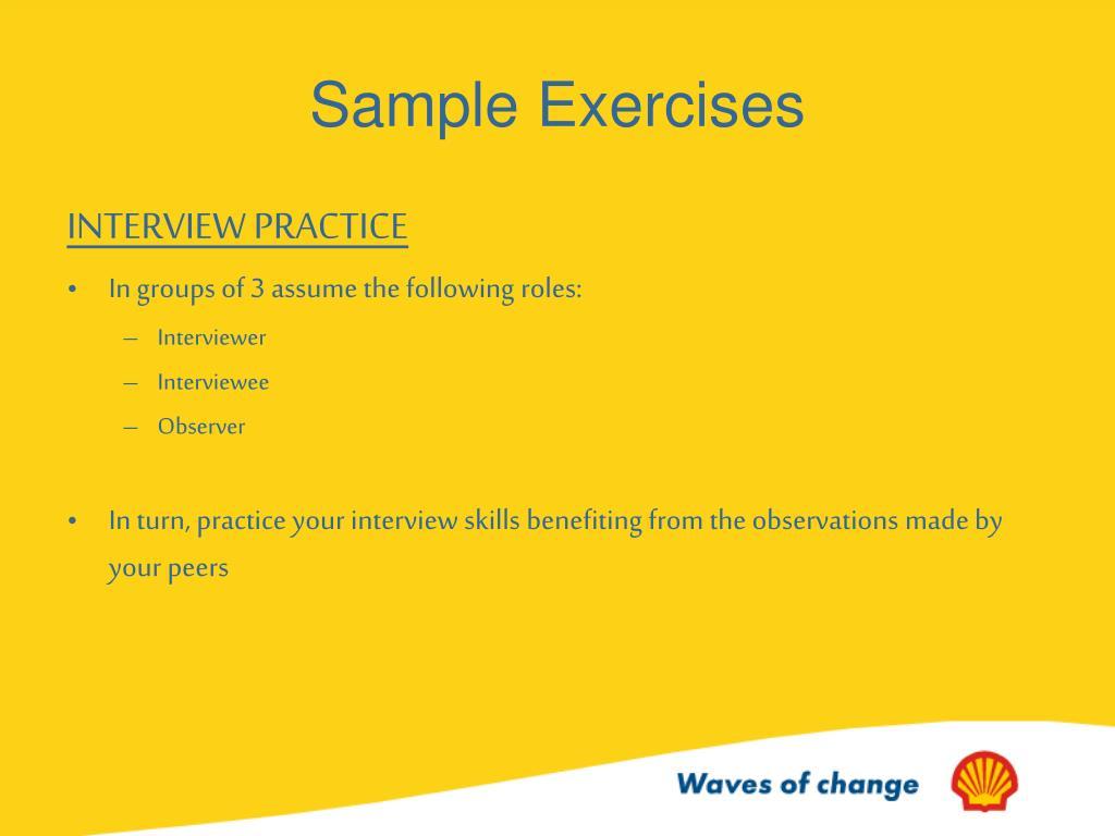 Sample Exercises
