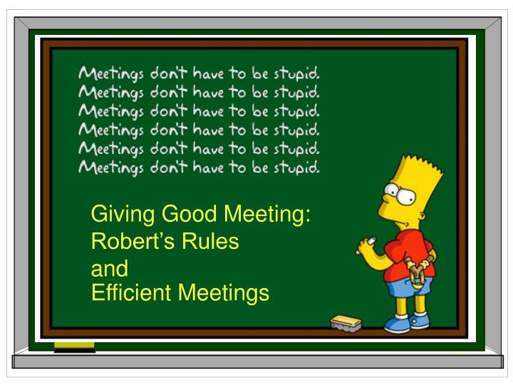 Giving Good Meeting: