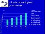 n loads to nottingham groundwater