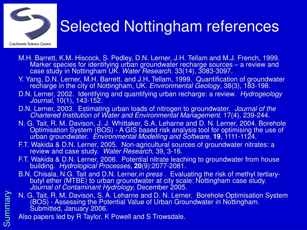 Selected Nottingham references