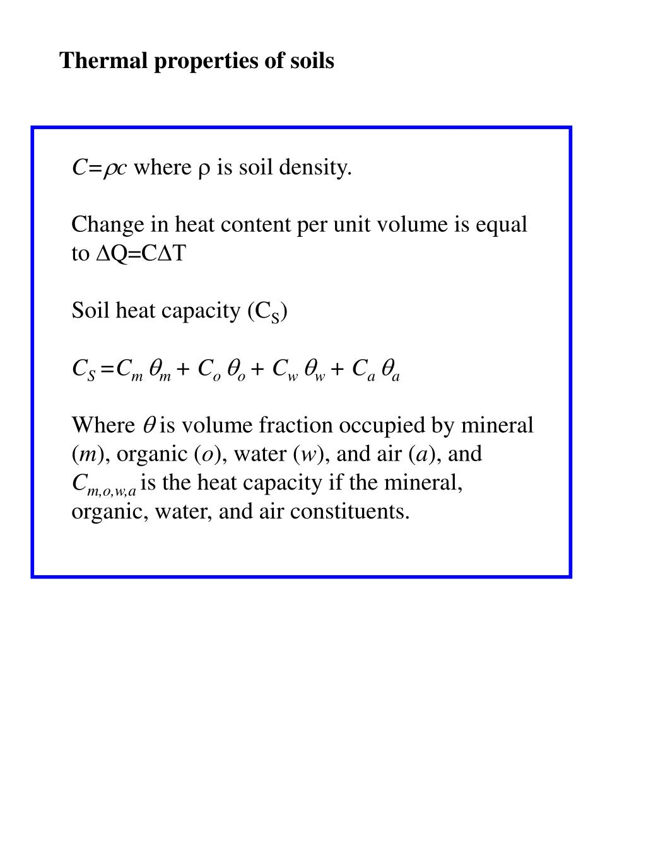 Thermal properties of soils
