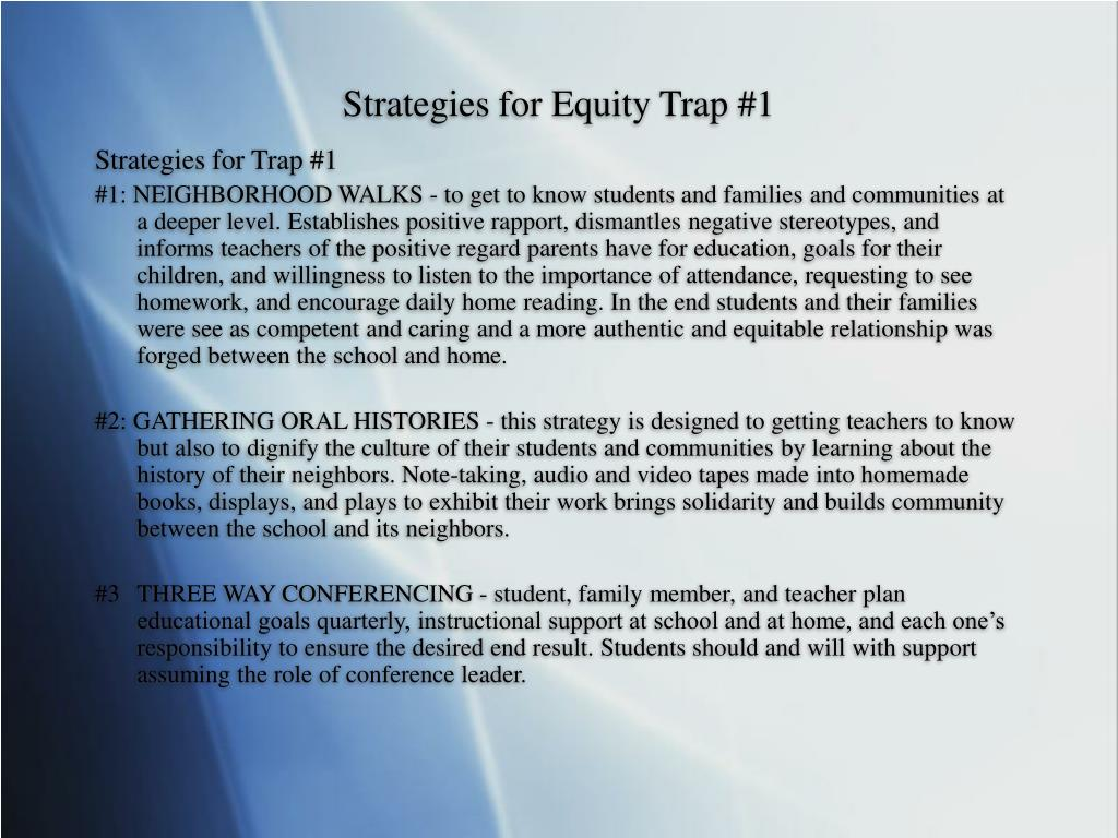 Strategies for Equity Trap #1